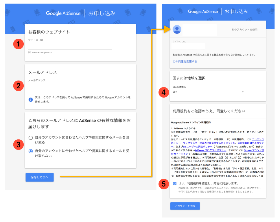 Google Adsense 審査申請